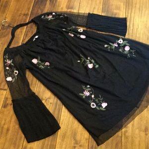 Bongo dress floral netted pleated fan cuff shift